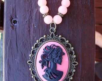 Necklace, lolita necklace, pink glass necklace, cameo necklace, day of the dead