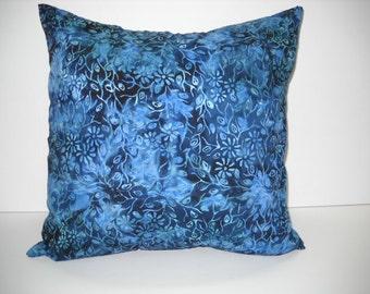 blue batik pillow