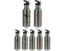 Personalized Custom 20 Oz 600ML Figure Skater Stainless Steel Water Bottle with Straw Top Holiday Gift