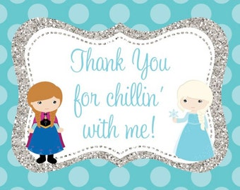 Frozen Anna and Elsa Thank You Notecard