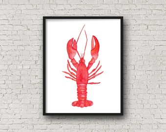 Watercolor Lobster Print