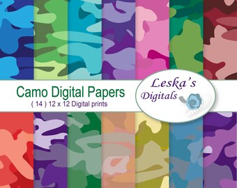 Camo Digital Paper Pack, digital camo instant download digital paper - Camouflage