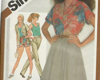 Simplicity 9904    Misses Shirt, Tank Top, Skirt, Shorts, or Pants    Size 14   C1981