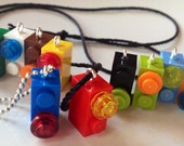 10 Mini LEGO® Brick Necklace Charms Made With LEGO® Bricks Different Colors Birthday Party Favor Gift
