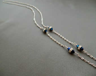 Blue Crystal Silver Eyeglasses Chain - Eyeglasses Chain -   Eyeglasses Holder - Eyeglasses Leash - Lanyard