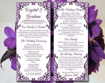 "Lace Wedding Program Template - Eggplant Purple Ceremony Program ""Bella Lace"" Instant Download Printable Wedding Tea Length Program Wedding"