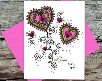 Zentangle Hearts, Thong Panties, Love Greeting Card with Fuchsia Envelope, Bright Colors