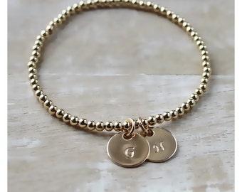 gold bracelet • 14K gold filled bracelet • gold stackable bracelet • layered bracelet • personalized bracelet • 14K gold filled charm • B036