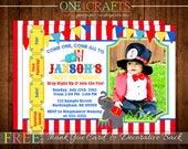 Circus, Big Top Invitation Printable Photo Invite : DIY Printing Digital File FREE Thank You Card and Backside with Purchase!