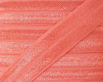 Light Coral Fold Over Elastic - Elastic For Baby Headbands and Hair Ties - 5 Yards of 5/8 inch FOE