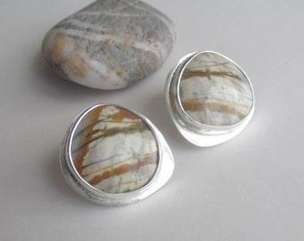 Landscape jasper framed-style handmade sterling silver designer stud earrings