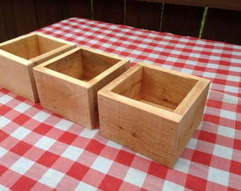 Set of Three Wood Flower Boxes, Wedding Centerpiece Flower Boxes, Table Centerpiece