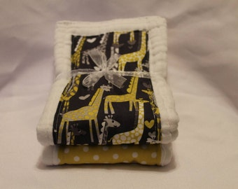 Set of 2 Giraffe Love Cloth Diaper Burp Cloths
