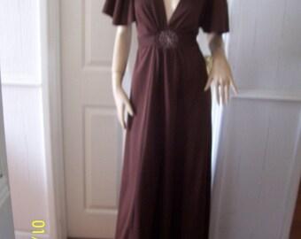 Bermuda Fab Brown Authentic Vintage Maxi Dress sz 12/14 * Pristine
