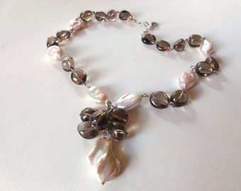Smoky Quartz necklace, baroque Pearls necklace and 925 sterling Silver necklace