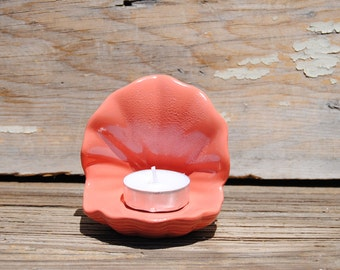 Beach Decor - Hand Painted Coral Seashell Tea Lite Holders - Wedding - Home Decor - Beach House