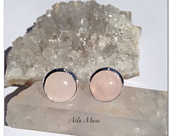 Pink and Silver Stud Earrings //