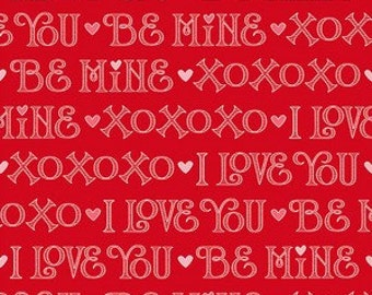 Henry Glass - I Love You - 6291-88 - Red Words - Cotton Fabric