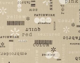 Benartex - Word Play Tan Patchwords - Cotton Woven