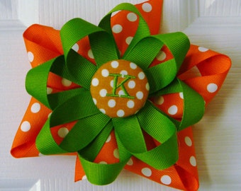 Thanksgiving hairbow with embroidered initial, Turkey Dress matching bow