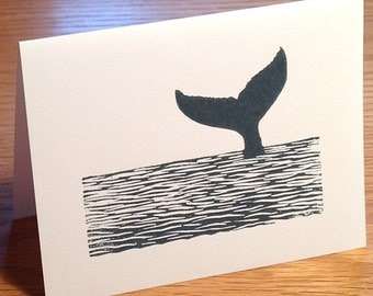 Whale tail linocut block print card -- choose one or two tails