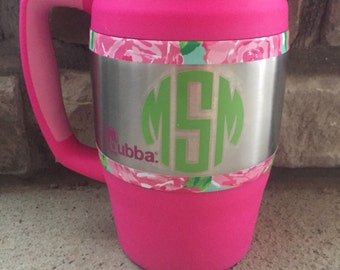 Pink Bubba Keg with Monogram-Personalized in Lilly Pulitzer Pattern 34 oz.