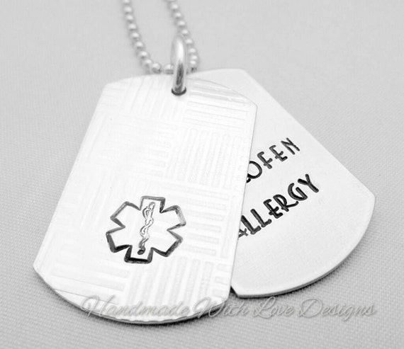 Medical identity Alert Necklace -Hand Stamped Dogtags