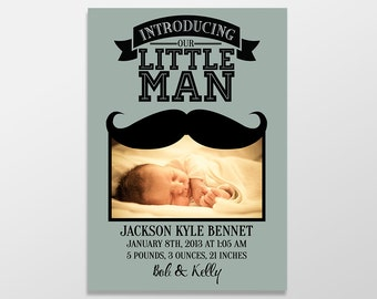 Funny Custom Digital Baby Boy Photo Birth Announcements, Mustache Baby Announcement Postcards - Our Little Man Newborn Announcements