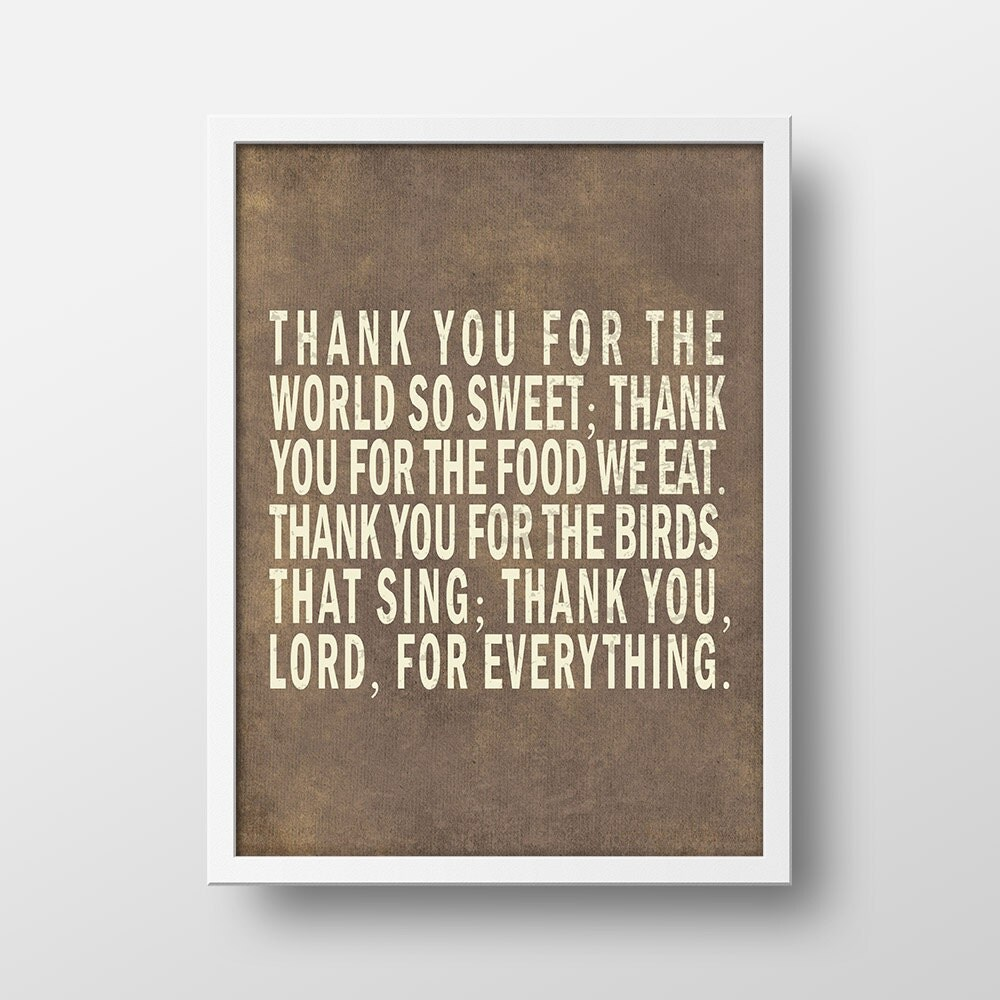 Wall Decor With Bible Verses : Thank you for the world so sweet bible verse wall art