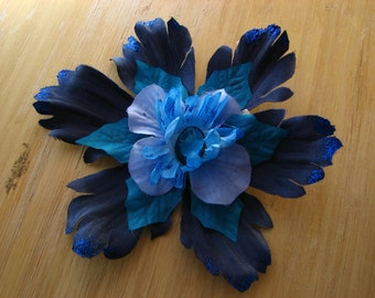 Blue flower fascinator