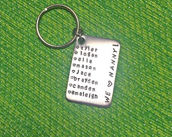 Hand Stamped Keychain - Babysitter Keychain - Nanny Gift - Babysitter Gift - We Love Nanny - Thoughtful Gift - Personalized - Custom Gift