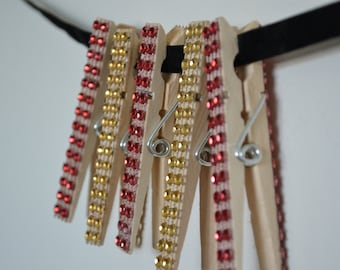 Red and Gold Sparkly Clothespins (5)
