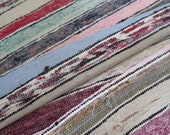 """Free Shipping !! Antique handwoven RAG RUG rustic peasants farmer carpet runner"""" wonderful color strip """"original old!"""" Vintage country style"""