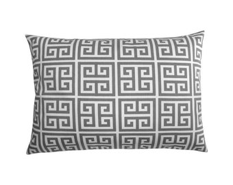 Greek key pattern TOWERS 40 x 60 cm grey white cushion cover