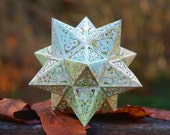 Earth Star Model Kit Recycled Vintage Maps, Geometric Design Stellated Dodecahedron, Educational Gift