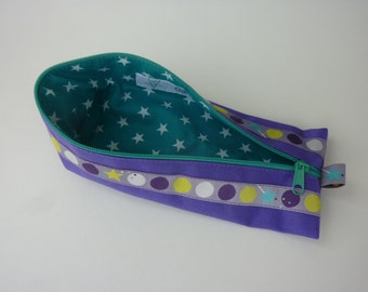 """Zipper Pencil Pouch pencil case """"Dots"""" in purple and turquoise"""