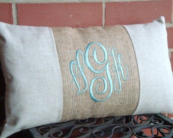 Lumbar Pillow Cover. Monogram Pillow. Burlap Pillow. Pillow Cover. Linen Pillow. Shabby Chic Pillow. Cottage Chic Pillow