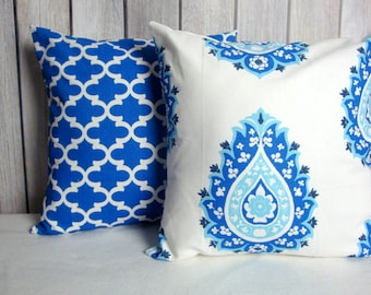 Cobalt Blue Pillow Covers. 20x20 Pillow Covers. Royal Blue Pillows. Pillow Covers. Blue White Pillows. Accent Pillows.