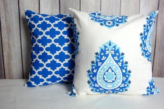 Cobalt Blue Pillow Covers. 18x18 Pillow Covers. Royal Blue Pillows. Pillow Covers. Blue White Pillows. Accent Pillows.