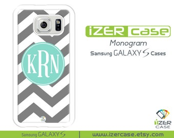 Personalized Monogrammed Samsung Galaxy S6 Case, Galaxy S5 Case, Galaxy S4 Case, Galaxy S3 Case. Gray Chevron with Turquoise