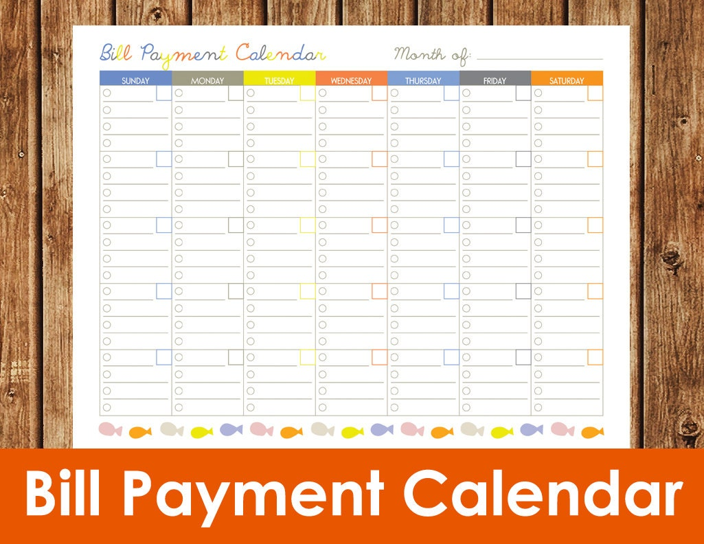 Bill Payment Calendar Instant Download PDF by spottedpixel