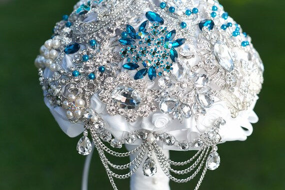 Crystal White Turquoise Wedding Brooch Bouquet. By