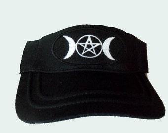 Sun Visor,Triple Moon Pentagram Embroidery ,Wiaan Pagan Clothing