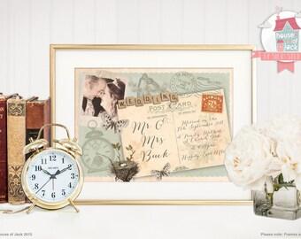 Personalised Art Print - Vintage Postcard - Wedding / Anniversary / Valentines Gift