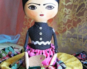 Frida Kahlo mixed media doll, textile doll, art doll, stuffed doll