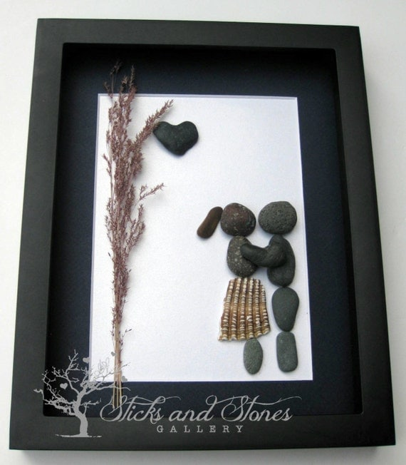 Couples Gift Ideas For Home: Pebble Art Couple's Gift Couple's Home Decor Unique