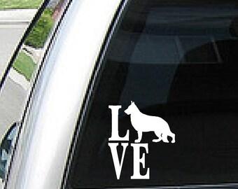 love with german shephard vinyl decal for laptops car truck windows - Frise Vinyle