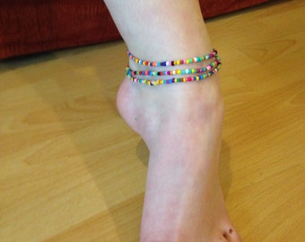 Multi coloured seedbead glass wrap anklet