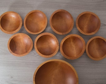Wood Salad Bowls / 1960's Vintage Solid Maple Wood Baribocraft Appetizer Bowl / Food Safe Serving Dish / Hand Carved Hardwood Tray