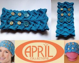 Spa headband earwarmer blue lace buttoned